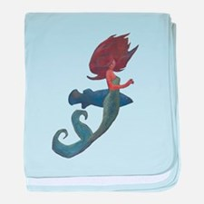 Mermaid and the Blue Fish baby blanket
