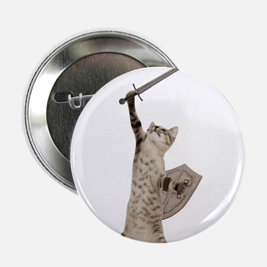 "Heroic Warrior Knight Cat 2.25"" Button"