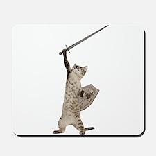 Heroic Warrior Knight Cat Mousepad