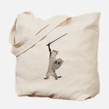 Heroic Warrior Knight Cat Tote Bag