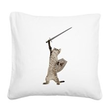Heroic Warrior Knight Cat Square Canvas Pillow