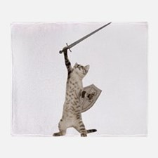 Heroic Warrior Knight Cat Throw Blanket