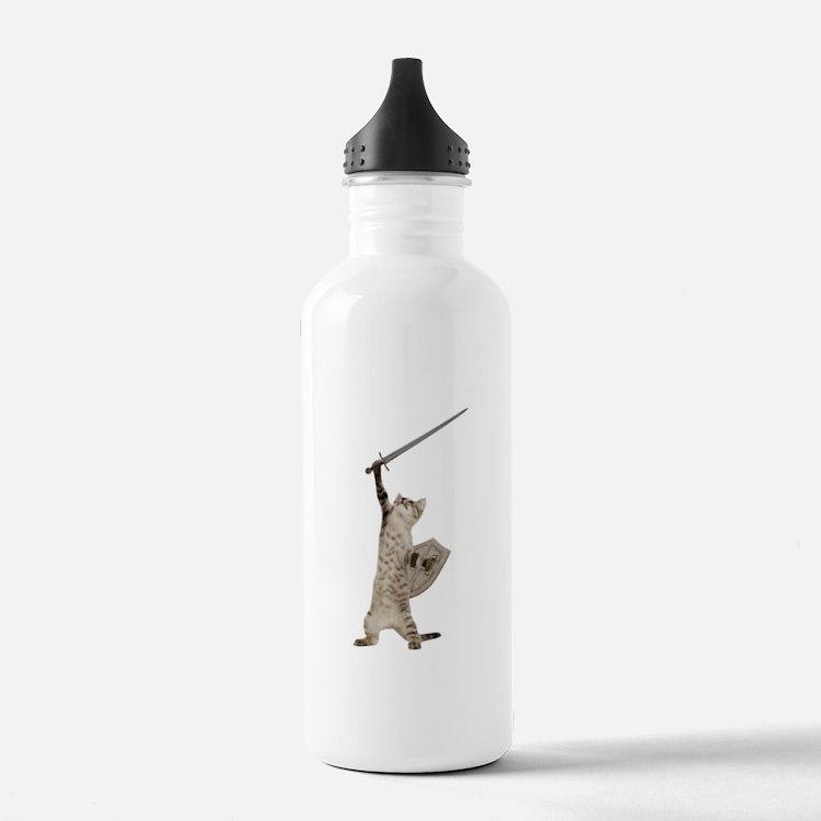 Heroic Warrior Knight Cat Water Bottle