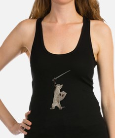 Heroic Warrior Knight Cat Racerback Tank Top