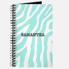 Aqua Black Zebra Monogram Journal