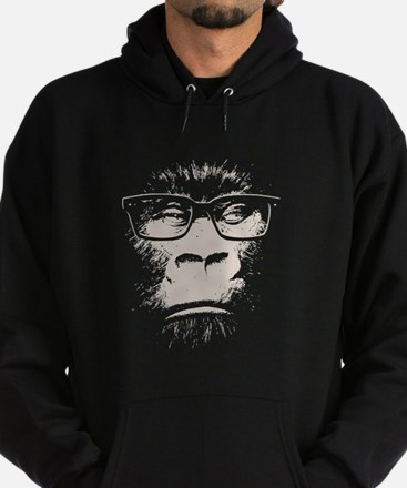 Hipster Gorilla With Glasses Hoodie