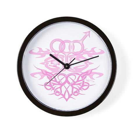 Bi Female Tribal Heart Wall Clock