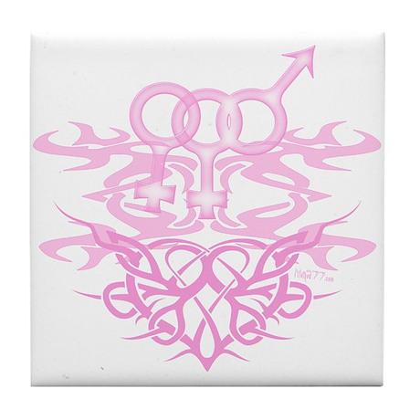 Bi Female Tribal Heart Tile Coaster
