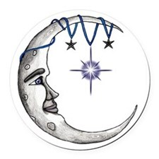 Man in the Moon Round Car Magnet