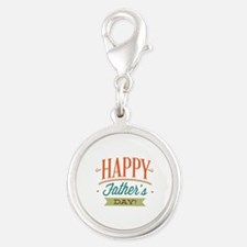 Happy Father's Day Silver Round Charm
