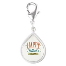 Happy Father's Day Silver Teardrop Charm