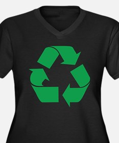 Green Recycle Women's Plus Size V-Neck Dark T-Shir