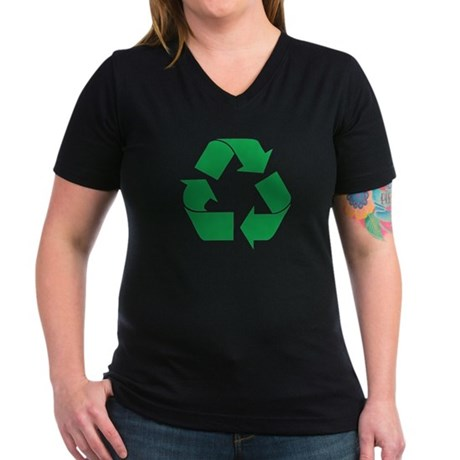 Green Recycle Women's V-Neck Dark T-Shirt