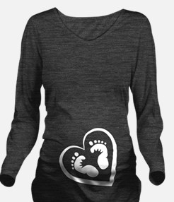 Baby Footprints White Long Sleeve Maternity T-Shir