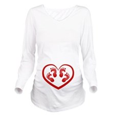 Twin Baby Footprints Red Long Sleeve Maternity T-S