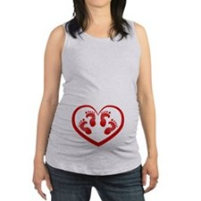 Twin Baby Footprints Red Maternity Tank Top