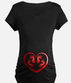 Twin Baby Footprints Red Maternity T-Shirt