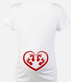 Twin Baby Footprints Red Shirt