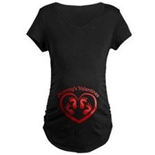 Mommys Twin Valentines Maternity T-Shirt