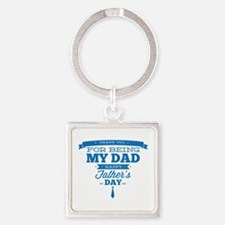 Thank You For Being My Dad Square Keychain