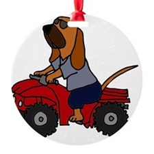 Bloodhound Driving ATV Ornament