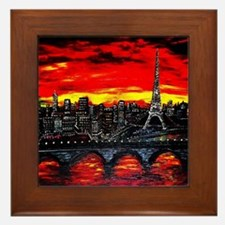 Red Sky in Paris, France Framed Tile