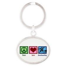 Peace Love Snowboarding Oval Keychain