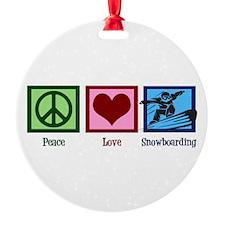 Peace Love Snowboarding Round Ornament