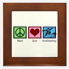 Peace Love Snowboarding Framed Tile
