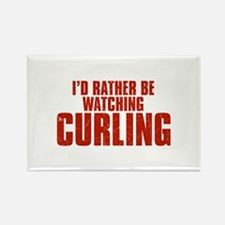 I'd Rather Be Watching Curling Rectangle Magnet