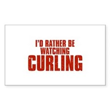 I'd Rather Be Watching Curling Rectangle Decal