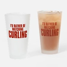 I'd Rather Be Watching Curling Drinking Glass