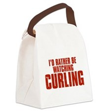 I'd Rather Be Watching Curling Canvas Lunch Bag