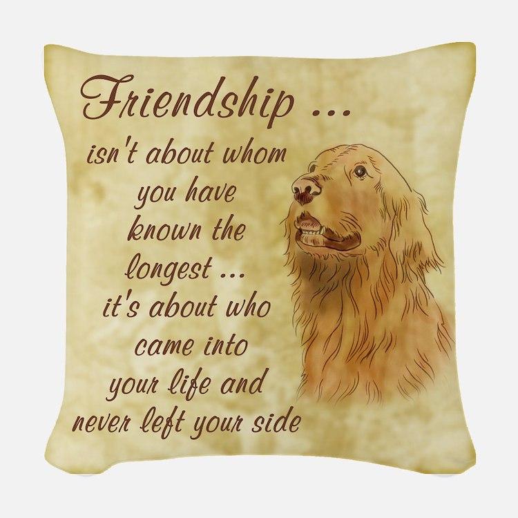 Friendship - Dog Woven Throw Pillow