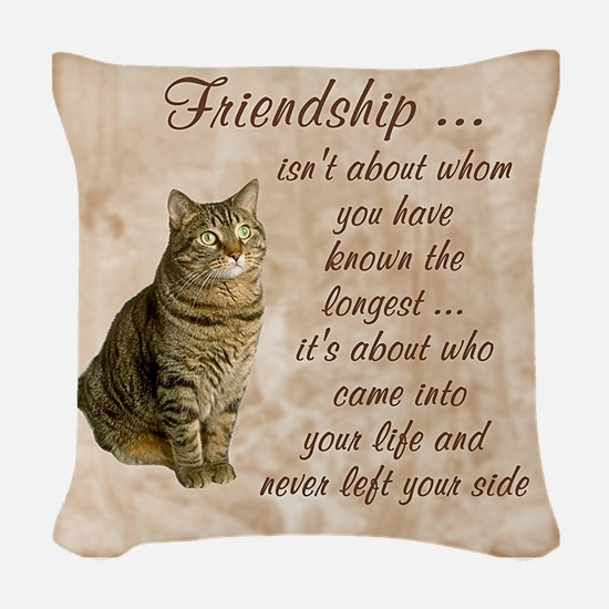 Friendship - Cat Woven Throw Pillow