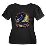 VAW 12 Bats Women's Plus Size Scoop Neck Dark Tee