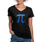 Pi Symbol Women's V-Neck Dark T-Shirt