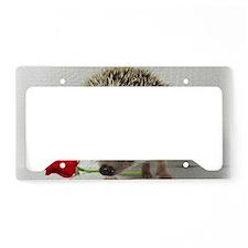 hedgehog with rose License Plate Holder
