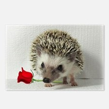 hedgehog with rose Postcards (Package of 8)