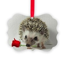 hedgehog with rose Ornament