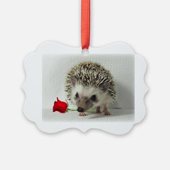hedgehog with rose Ornament