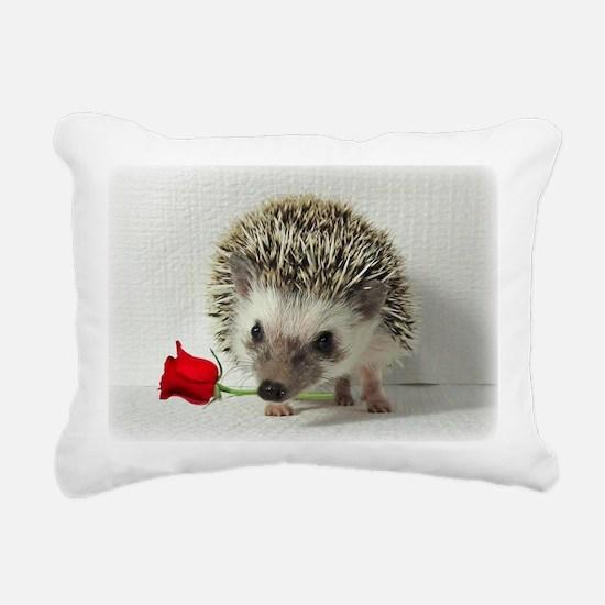hedgehog with rose Rectangular Canvas Pillow