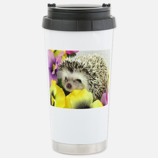 Hedgehog in flowers Stainless Steel Travel Mug