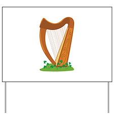 Celtic Harp Instrument Yard Sign