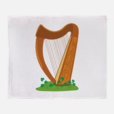 Celtic Harp Instrument Throw Blanket