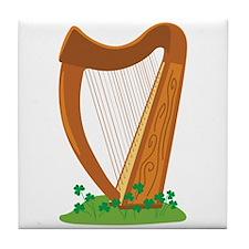 Celtic Harp Instrument Tile Coaster