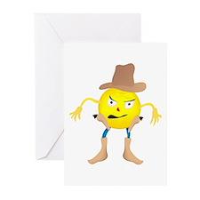 Cowboy Emoticon Greeting Cards (Pk of 10)