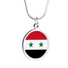 Syria Flag Silver Round Necklace