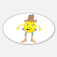 Cowboy Emoticon Oval Decal