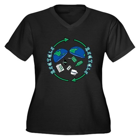 Recycle Design Women's Plus Size V-Neck Dark T-Shi